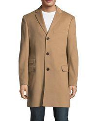 Saks Fifth Avenue Men's Wool & Cashmere-blend Topcoat - Charcoal - Size M - Black