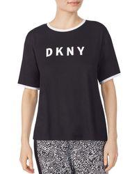 DKNY Women's Logo Pajama T-shirt - Solid Black - Size M