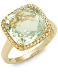 Effy 14k Yellow Gold, Green Amethyst & Diamond Ring - Metallic