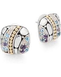 John Hardy - Kali Sterling Silver, 18k Yellow Gold, Swiss Blue Topaz & Iolite Square Stud Earrings - Lyst