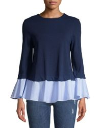 Beach Lunch Lounge - Bell-sleeve Eyelets And Stripes Top - Lyst