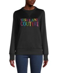 Versace Jeans Couture - Women's Logo Sweatshirt - Black - Size Xs - Lyst