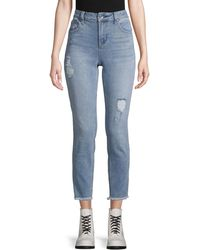 Max Studio High-rise Destroyed Skinny Crop Jeans - Blue