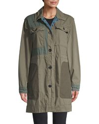 Free People Patchwork Cotton Army Jacket - Green