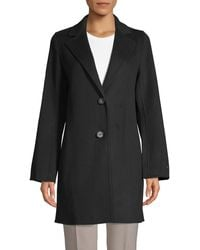 T Tahari Jayden Notch Lapel Coat - Black