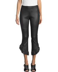 Cinq À Sept - Gionata Cropped Ruffle-trimmed Leather Slim-leg Trousers - Lyst