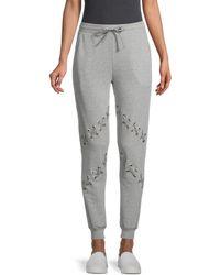 South Parade Lace Cotton-blend Joggers - Grey
