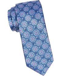 Canali Geometric Floral Silk Tie - Blue
