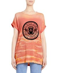 Balmain Tie-dye Logo Tee - Orange