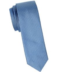 HUGO Textured Silk Slim Tie - Blue