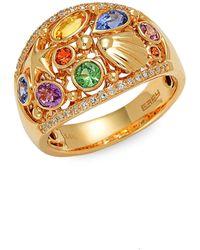 Effy 14k Yellow Gold, Multi-colored Sapphire & 0.14 Tcw White Diamond Ring - Multicolour