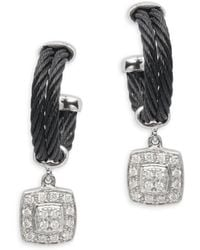 Alor - 18k White Gold & Stainless Steel Diamond Square Dangle & Drop Earrings - Lyst