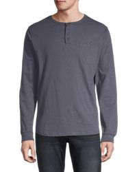 Unsimply Stitched Long-sleeve Cotton Henley - Blue