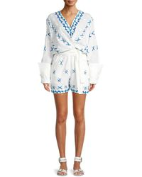 All Things Mochi Women's Self-tie Wrap Romper - Off White - Size L