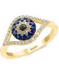 Effy 14k Yellow Gold, Natural Sapphire, Diamond & Black Diamond Ring - Metallic