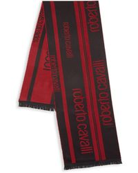 Roberto Cavalli Two-tone Branded Scarf - Red