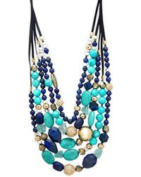 Alexis Bittar 10k Goldplated, Leather & Crystal Multi-strand Beaded Necklace - Blue