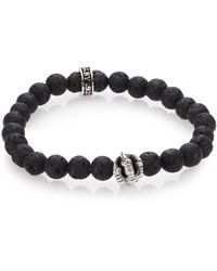 King Baby Studio Lava Rock & Onyx Beaded Bracelet - Black