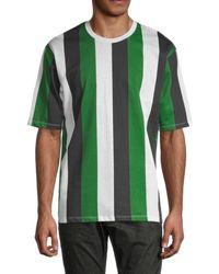 Antony Morato Men's Vertical Stripe T-shirt - Green Cactus Multicolor - Size M
