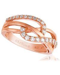 Le Vian 14k Strawberry Gold & Vanilla Diamonds® Curve Crisscross Ring - Metallic