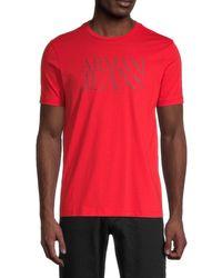 Armani Jeans Men's Logo Cotton Tee - Red - Size M