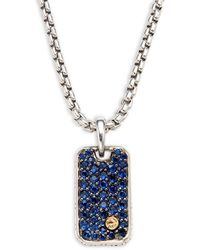 Effy Sterling Silver, 18k Yellow Gold & Blue Sapphire Pendant Necklace