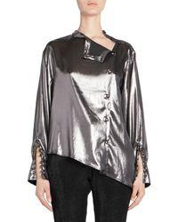 Each x Other Women's Asymmetric Metallic Blouse - Grey - Size M