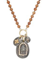 Sara Weinstock Buddha 18k Gold, Sterling Silver, Diamond & Fossilized Bone Pendant Necklace - Metallic