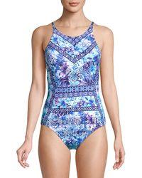 Tommy Bahama Aquapetals Floral One-piece Swimsuit - Blue
