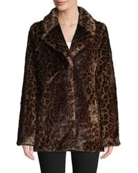 Donna Karan New York Leopard Print Faux Fur Jacket - Brown