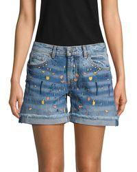Miss Me Paint Splatter Denim Shorts - Blue