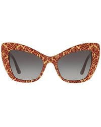 Dolce & Gabbana Origin 54mm Cat Eye Sunglasses - Brown