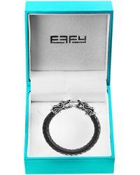 Effy Sterling Silver, Black Sapphire & Leather Dragon Bracelet - Multicolour