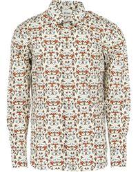 Brioni Print Silk & Cotton Shirt - White