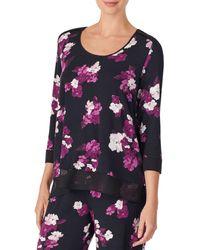 Donna Karan Printed Pyjama Top - Black