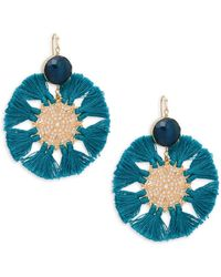 Panacea Blue Crystal Tassel Earrings - Green