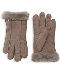 UGG Perforated Shearling Gloves - Black