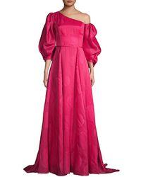 Carolina Herrera Off-the-shoulder Polka-dot Fil Coupé Silk-blend Gown Magenta - Pink