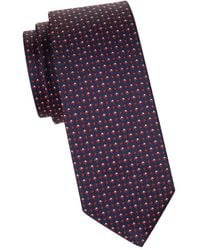 BOSS by Hugo Boss Men's Floral-embroidered Silk Tie - Navy - Blue