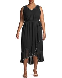 Vince Camuto Plus Ruffled High-low Midi Dress - Black