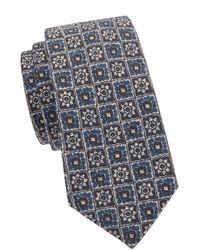 Kiton Printed Wool & Silk-blend Tie - Blue