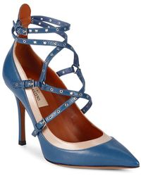 Valentino Love Latch Ankle-strap Leather Court Shoes - Blue