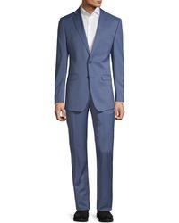 Calvin Klein Slim-fit Textured Solid Wool-blend Suit - Blue