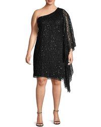 Adrianna Papell Plus Embellished One-shoulder Shift Dress - Black