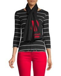Boutique Moschino - Wool Blend Striped Heart Scarf - Lyst