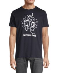 Roberto Cavalli Logo Cotton Tee - Black