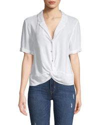 BCBGeneration Twist Front Buttoned Shirt - White