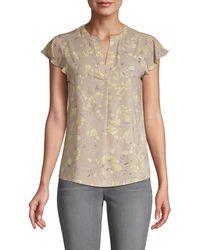 Calvin Klein Floral Flutter-sleeve Top - Multicolour