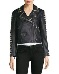 Rebecca Minkoff Wes Pearl Moto Jacket - Black