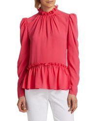 Saloni Mel Silk Peplum Top - Pink